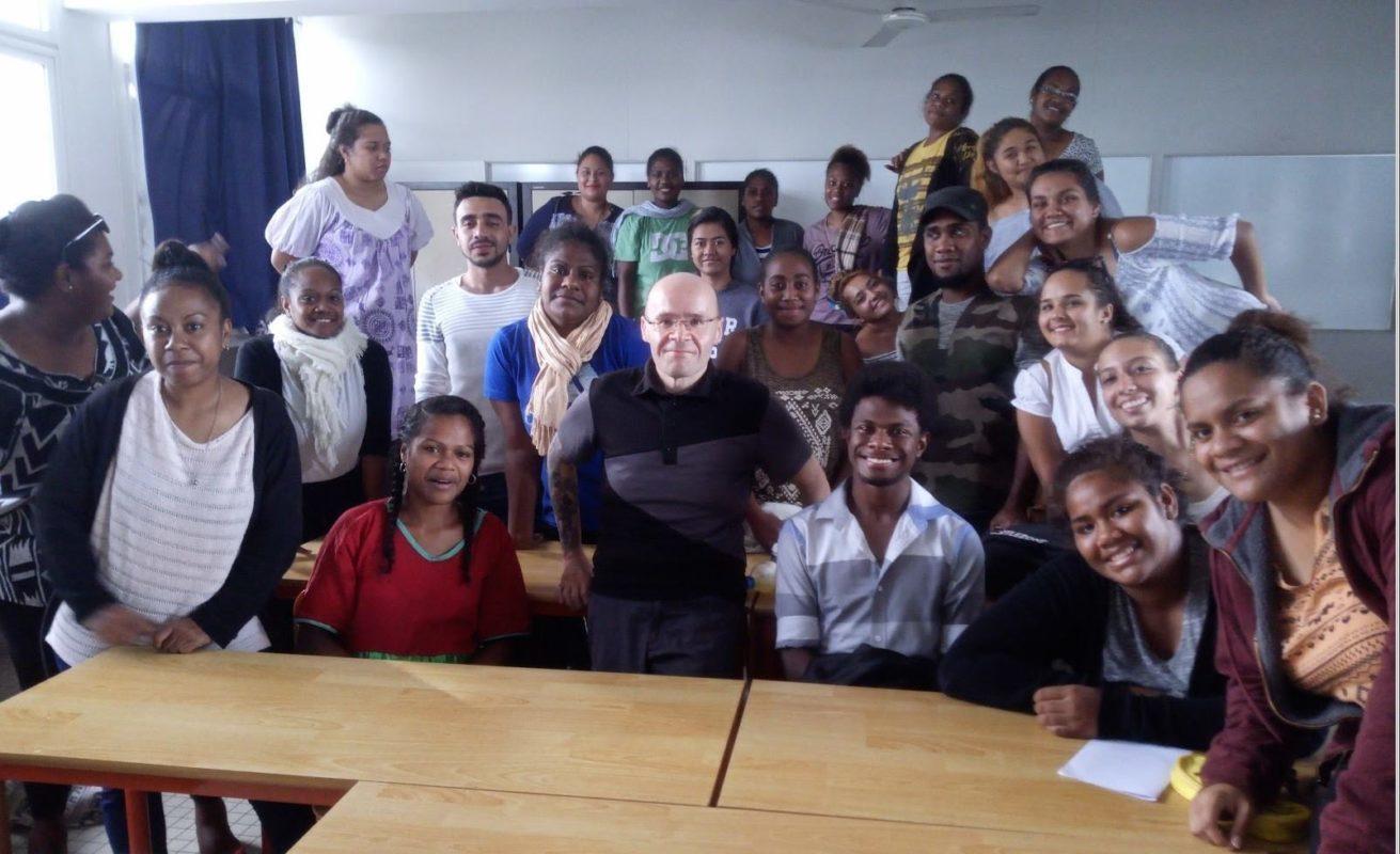 Ludoivc Danteny, agence webmarketing à Nouméa, lors de son intervention au lycée Lapérouse à Nouméa